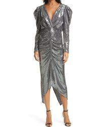 Ronny Kobo Astrid Long Sleeve Sequin Dress - Metallic