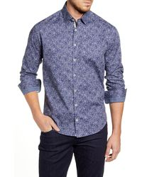 Stone Rose Regular Fit Abstract Floral Button-up Sport Shirt - Blue