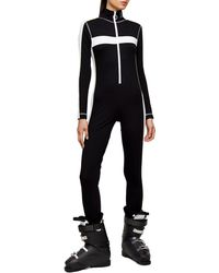 TOPSHOP black And White All In One Jersey Ski Suit By Sno