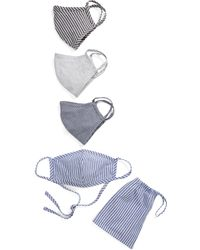 Nordstrom Adult Woven Stripe Face Mask - Pack Of 4 - Blue