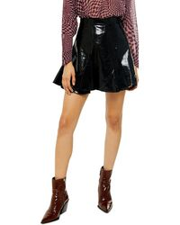 TOPSHOP Patent Faux Leather Pu Flippy Skirt - Black