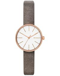 Skagen - Signatur Leather Strap Watch - Lyst