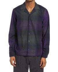 Saturdays NYC Marco Plaid Flannel Men's Button-up Shirt - Blue