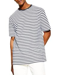 TOPMAN Oversize Stripe T-shirt - Blue