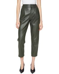 Anine Bing Becky Crop Leather Pants - Green