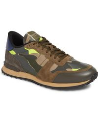 Valentino Garavani Rockrunner Suede, Leather And Canvas Sneakers - Green