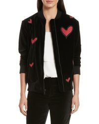 Alice + Olivia - Embroidered Patch Oversize Bomber Jacket - Lyst