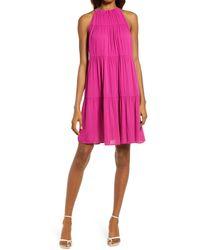 Chelsea28 Sleeveless Tiered Halter Shift Dress - Pink