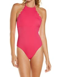 Chelsea28 High Neck Scalloped One-piece Swimsuit - Pink