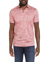 Ted Baker Slim Fit Linear Floral Print Polo - Pink