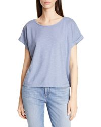 Eileen Fisher Boxy Hemp & Organic Cotton Top - Blue
