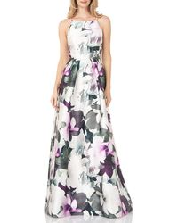 Kay Unger Floral Mikado Gown - Multicolor
