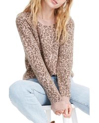 Madewell Leopard Print Shrunken Pullover Sweater - Multicolor