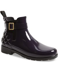 HUNTER - Original Refined Quilted Gloss Chelsea Waterproof Boot - Lyst