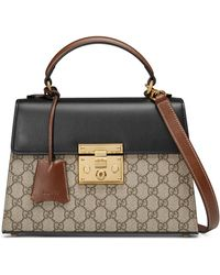 Gucci - Small Padlock Gg Supreme Canvas & Leather Top Handle Satchel - Lyst