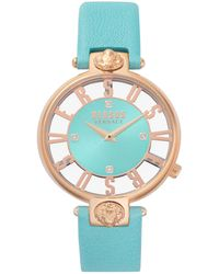 Versus Teal Leather Strap Watch 16mm - Blue