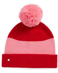 Kate Spade Colorblock Knit Beanie - Red