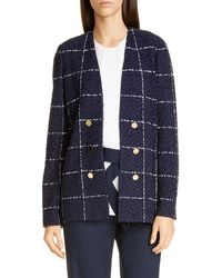 St. John Herringbone Grid Knit Jacket - Blue