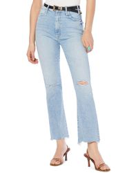 Mother The Hustler High Waist Ripped Chew Hem Ankle Jeans - Blue
