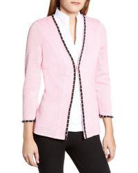 Ming Wang Chain Trim Jacquard Jacket - Pink
