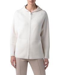 Akris Cashmere Piqué Hooded Sweater - White