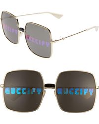 ae122bfb2fc Lyst - Gucci Havana Rounded Wayfarer Sunglasses in Brown