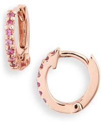 Dana Rebecca Sapphire Huggie Hoop Earrings - Multicolour