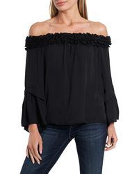 Vince Camuto Bell Sleeve Off-the-shoulder Blouse - Black