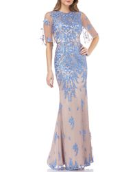 JS Collections Illusion Embroidered Capelet Gown