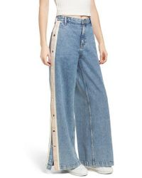 TOPSHOP - Moto Side Button Wide Leg Nonstretch Jeans - Lyst