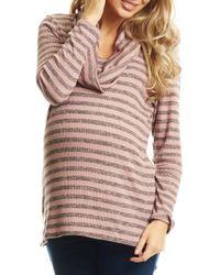 Everly Grey Reina Cowl Neck Maternity/nursing Top - Pink