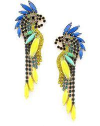 Elizabeth Cole - Crystal Parrot Earrings - Lyst