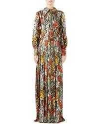 Gucci Feline Garden Print Long Sleeve Silk Dress - Multicolour