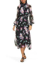 A.L.C. Casey Floral Long Sleeve Silk Midi Dress - Black