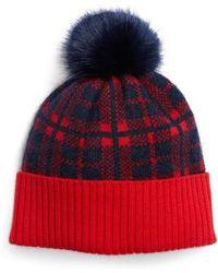 Draper James - Carolina Check Pompom Hat - Lyst