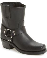 Frye Harness 8r Leather Booties - Black
