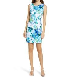 Connected Apparel Floral Sleeveless Sheath Dress - Blue