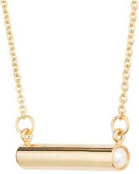 Stella Valle - June Imitation Pearl Bar Pendant Necklace - Lyst
