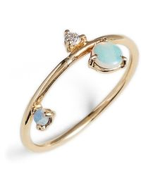 Wwake Counting Collection - Three-step Balloon Opal & Diamond Ring - Blue