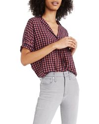 Madewell Courier Button Back Shirt - Red