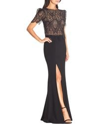 Dress the Population Ramona Lace Popover Bodice Trumpet Gown - Black