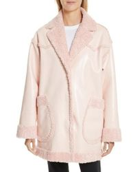 Opening Ceremony - Faux Shearling & Faux Patent Reversible Coat - Lyst