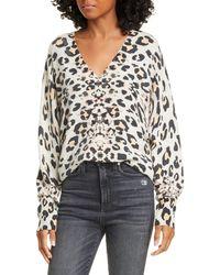 Brochu Walker Kelso Leopard Print Cashmere V-neck Sweater - Multicolor