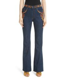 Etro - Paisley Embroidered Flare Jeans - Lyst