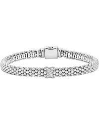 Lagos Caviar 'signature Caviar' Diamond Rope Bracelet - Metallic