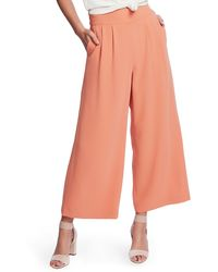 1.STATE Wide Leg Crepe Pants - Orange