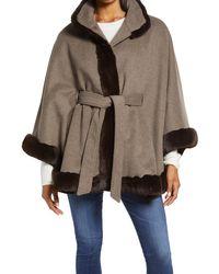 Ellen Tracy Faux Fur Trim Wool Blend Cape - Brown