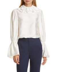 Tory Burch Striped Satin Silk - Blend Ruffled Blouse - White