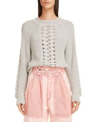 d89eaf54f2 Lyst - Isabel Marant Charley Lace-up Wool Sweater in Gray
