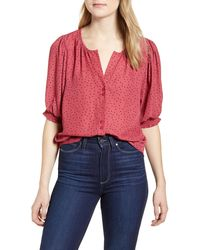 Bobeau Valerie Dotted Puff Sleeve Blouse - Pink